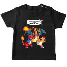 T-shirt bébé  parodique Dracaufeu, Reptincel et Salamèche : Ce soir, on vous met le Feu ! (Parodie )