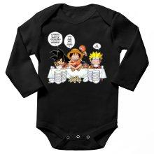 Body bébé manches longues  parodique Luffy, Naruto et Sangoku : La recette d