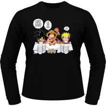 T-Shirts à manches longues  parodique Luffy, Naruto et Sangoku : La recette d