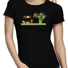 T-shirts Femmes  parodique Leonardo, Raphael, Donatello, Michelangelo et Mario : La revanche des Tortues (Super Deformed Edition) (Parodie )