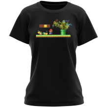 T-shirts Femmes  parodique Leonardo, Raphael, Donatello, Michelangelo et Mario : La revanche des Tortues (Super Deformed Edition) (Parodie )