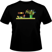 T-shirts  parodique Leonardo, Raphael, Donatello, Michelangelo et Mario : La revanche des Tortues (Super Deformed Edition) (Parodie )