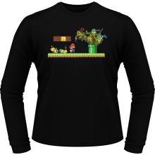 T-Shirts à manches longues  parodique Leonardo, Raphael, Donatello, Michelangelo et Mario : La revanche des Tortues (Super Deformed Edition) (Parodie )