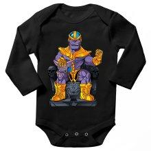 Body bébé manches longues  parodique Thanos de Avengers et Beerus de Dragon Ball Super : Le Dieu de la destruction... et son chat ! (Parodie )