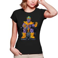 T-shirts Femmes  parodique Thanos de Avengers et Beerus de Dragon Ball Super : Le Dieu de la destruction... et son chat ! (Parodie )