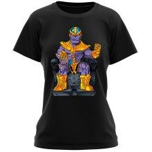 T-shirts Femmes  parodique Thanos de Avengers et Beerus de Dragon Ball Super : Le Dieu de la destruction... et son chat ! (Parodie )