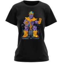 T-shirt Femme  parodique Thanos de Avengers et Beerus de Dragon Ball Super : Le Dieu de la destruction... et son chat ! (Parodie )