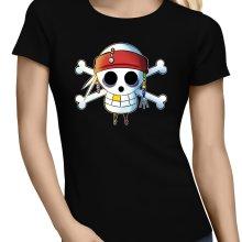 T-shirts Femmes  parodique Luffy et Jack Sparrow : Le Drapeau Pirate du Capitaine Jack à la Sauce Manga :) (Parodie )