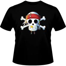 T-shirts  parodique Luffy et Jack Sparrow : Le Drapeau Pirate du Capitaine Jack à la Sauce Manga :) (Parodie )