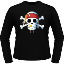 T-Shirts à manches longues  parodique Luffy et Jack Sparrow : Le Drapeau Pirate du Capitaine Jack à la Sauce Manga :) (Parodie )