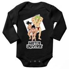 Body bébé manches longues  parodique Sangoku, Végéta et Broly : Le grand Concours de Mister Univers ! (Parodie )