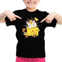 T-shirt Enfant Fille  parodique Pikachu et Miaouss : Le jeu du Chat et la Souris :) (Parodie )