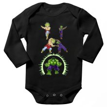 Funny  Long sleeve Baby Bodysuit - Broly, Piccolo and Hulk ( Parody) (Ref:674)