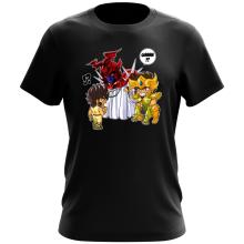 Funny  T-Shirt - Gold Saint Leo Aiolia and Bronze Saint Pegasus Seiya ( Parody) (Ref:475)