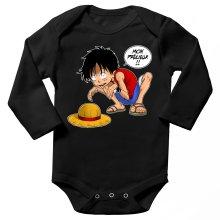 Body bébé manches longues  parodique Luffy et Gollum : Mon Précieux (Super Deformed) (Parodie )