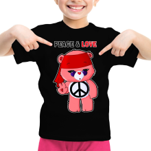 Funny  Girls Kids T-shirt - Care Bears - Peace man ( Parody) (Ref:342)