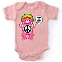 Funny  Baby Bodysuit (Baby Girls) - Care Bears - Peace And Love Man ( Parody) (Ref:341)