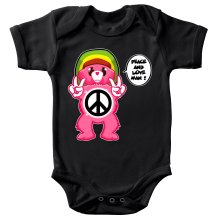 Funny  Baby Bodysuit - Care Bears - Peace And Love Man ( Parody) (Ref:341)