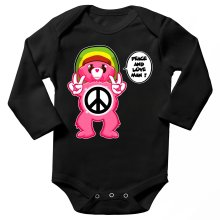 Funny  Long sleeve Baby Bodysuit - Care Bears - Peace And Love Man ( Parody) (Ref:341)