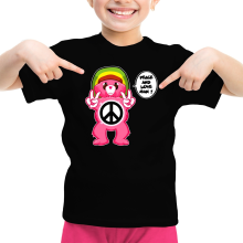 Funny  Girls Kids T-shirt - Care Bears - Peace And Love Man ( Parody) (Ref:341)