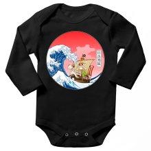 Body bébé manches longues  parodique La Grande Vague de Kanagawa et le Vogue Merry : Pirates en mer du Japon... :) (Parodie )