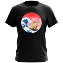T-shirt  parodique La Grande Vague de Kanagawa et le Vogue Merry : Pirates en mer du Japon... :) (Parodie )