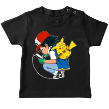 T-shirt bébé  parodique Pikachu : Plus de problème de batterie !! (Parodie )