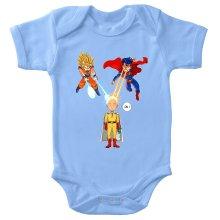Funny  Baby Bodysuit - Saitama, Son Goku et Superman ( Parody) (Ref:937)