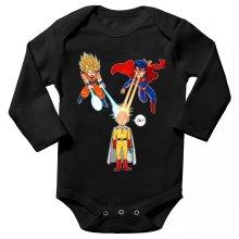 Funny Long sleeve Baby Bodysuit - Saitama, Son Goku et Superman ( Parody)