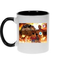 Mug  parodique Luffy, Kaido, Eren Jager et le Titan Colossal : Un Combat Titanesque piraté... !! (Parodie )