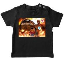 T-shirt bébé  parodique Luffy, Kaido, Eren Jager et le Titan Colossal : Un Combat Titanesque piraté... !! (Parodie )