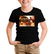 T-shirt Enfant  parodique Luffy, Kaido, Eren Jager et le Titan Colossal : Un Combat Titanesque piraté... !! (Parodie )