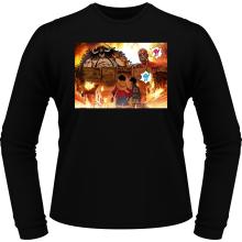 T-Shirts à manches longues  parodique Luffy, Kaido, Eren Jager et le Titan Colossal : Un Combat Titanesque piraté... !! (Parodie )