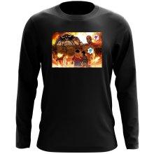 T-Shirt à manches longues  parodique Luffy, Kaido, Eren Jager et le Titan Colossal : Un Combat Titanesque piraté... !! (Parodie )