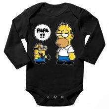 Body bébé manches longues  parodique Homer Simpson et Kévin le Minion : Un fiston trop mignon (Super Deformed) (Parodie )