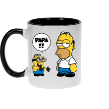 Mugs  parodique Homer Simpson et Kévin le Minion : Un fiston trop mignon (Super Deformed) (Parodie )
