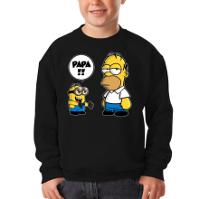 Sweat-shirts  parodique Homer Simpson et Kévin le Minion : Un fiston trop mignon (Super Deformed) (Parodie )