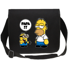 Sacs bandoulière Canvas  parodique Homer Simpson et Kévin le Minion : Un fiston trop mignon (Super Deformed) (Parodie )