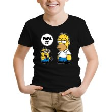 T-shirts  parodique Homer Simpson et Kévin le Minion : Un fiston trop mignon (Super Deformed) (Parodie )