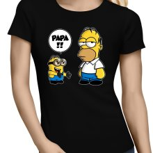 T-shirts Femmes  parodique Homer Simpson et Kévin le Minion : Un fiston trop mignon (Super Deformed) (Parodie )