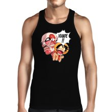 Débardeurs  parodique Luffy VS le titan colossal : Viande !!!! (SD Edition) (Parodie )