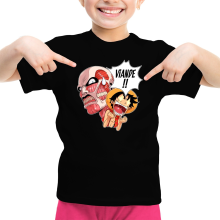 T-shirts  parodique Luffy VS le titan colossal : Viande !!!! (SD Edition) (Parodie )