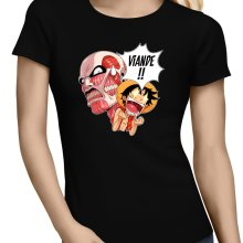 T-shirts Femmes  parodique Luffy VS le titan colossal : Viande !!!! (SD Edition) (Parodie )